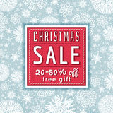 Blue christmas background and  label with sale offer Royalty Free Stock Photography