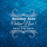 Blue christmas background with label for sale, vec Royalty Free Stock Photography