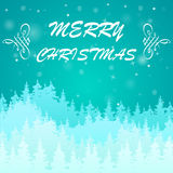 Blue Christmas background. Light blue Christmas background with fir-trees and sample text Stock Photos