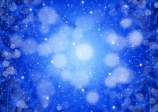 Blue Christmas background. With lights and fir branches vector illustration