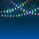 Blue Christmas background with lights. Stock Image