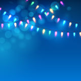 Blue Christmas background with lights. Vector. Illustration EPS10 Royalty Free Stock Photography
