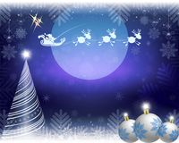 Blue christmas background with santa claus on reindeer. Blue christmas background with moon, fir tree and santa claus riding on comic deer Stock Image