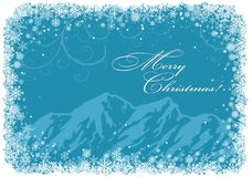 Blue Christmas background with mountains Stock Images