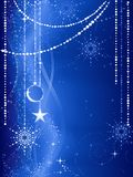 Blue Christmas background with ornaments Stock Images