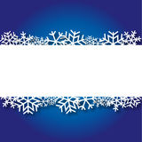 Blue Christmas background with paper snowflakes Stock Images