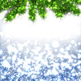 Blue christmas background. RBlue christmas background with fir and snowflakes. Vector illustration Stock Photography