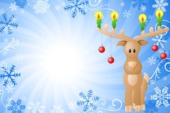 Blue christmas background with reindeer Stock Image