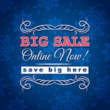 Blue christmas background and sale offer Royalty Free Stock Photos