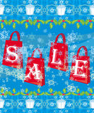 Blue christmas background with sale offer Royalty Free Stock Photos