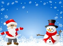 Blue christmas background with santa claus and a s. Vector illustration of a blue christmas background with santa claus and a snowman Stock Photography