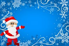 Blue christmas background with santa claus vector illustration
