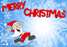 Blue christmas background with santa claus Stock Images