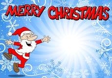 Blue christmas background with santa claus. Vector illustration of a blue christmas background with santa claus Stock Image