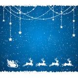 Blue Christmas background with Santa Stock Image