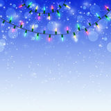 Blue Christmas background with shining colorful lights Stock Photography
