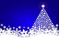Blue christmas background with shiny Christmas tree Stock Photos
