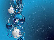 Blue Christmas background. Christmas background with blue and silver balls Royalty Free Stock Photography