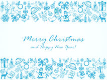 Blue Christmas background with sketches elements. Christmas background with frame from blue sketches, illustration Stock Photography