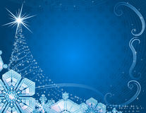 Blue christmas background with snowflakes. Blue christmas background with snowflakes and stylized fur tree Royalty Free Stock Photo