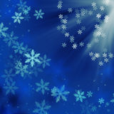 Blue christmas background with snowflakes. Beautiful blue winter background with snowflakes royalty free stock photo