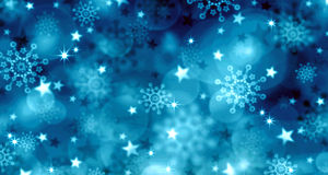 Blue  Christmas Background and snowflakes. Royalty Free Stock Photos