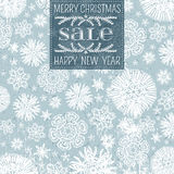 Blue christmas background with snowflakes and labe Royalty Free Stock Images