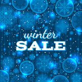 Blue christmas background with snowflakes and offe Royalty Free Stock Photography