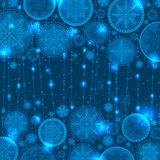 Blue christmas background with snowflakes and offe Stock Photo