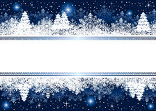 Blue Christmas background with snowflakes and star. Abstract winter background, with snowflakes, stars and Christmas tree, illustration Royalty Free Stock Images
