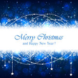 Blue Christmas background with snowflakes and stars Stock Photography
