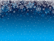 Blue christmas background with snowflakes and stars, vector Royalty Free Stock Photo