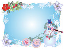 Blue Christmas Background  with Snowman and Balls Stock Photos