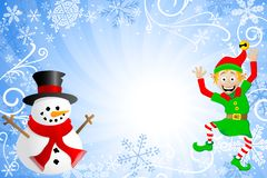 Blue christmas background with a snowman and an el Stock Photos
