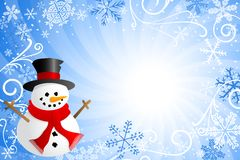 Blue christmas background with a snowman Stock Photos