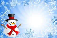 Blue christmas background with a snowman. Vector illustration of a blue christmas background with a snowman Stock Photos