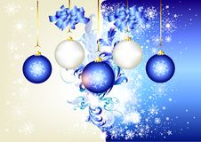 Blue christmas background with space and baubles Royalty Free Stock Image