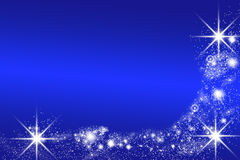 Blue christmas background with space for text. Bright blue christmas background with white stars and lights Stock Images