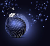 Blue Christmas background. Sparkling Christmas background with xmas ball and stars Stock Photography
