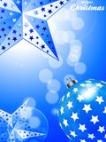Blue Christmas Background with stars and bauble. 3D Illustration of Glowing Blue Festive Christmas Portrait Background with Bauble Stars and Decorative Text Stock Images