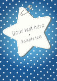 BLUE CHRISTMAS BACKGROUND WITH STARS. Blue Christmas pattern with a star label hooked Stock Photo