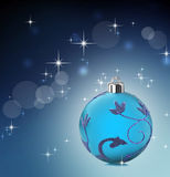 Blue christmas background with stars shining. Blue christmas  bauble with stars shining background Royalty Free Stock Photos