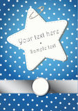 BLUE CHRISTMAS BACKGROUND WITH STARS AND A SILVER BORDER. Blue Christmas pattern with a star label hooked and a silver border Royalty Free Stock Photo