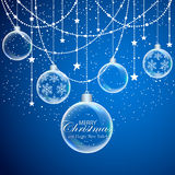Blue Christmas background with stars and transparent balls vector illustration