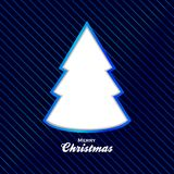 Christmas blue background with cut out tree. Blue Christmas Background with Stripes Decorative Text and Cut Out Tree Royalty Free Stock Photo