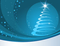 Blue christmas background with stylized fur tree. Royalty Free Stock Photos