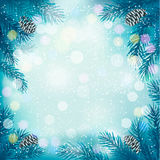 Blue Christmas background with tree branches and s Royalty Free Stock Photos