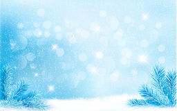 Blue Christmas background with tree branches and s Royalty Free Stock Photo