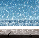 Blue Christmas background with trees and snow Stock Images