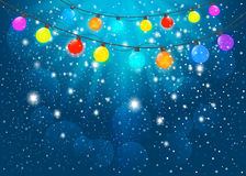 Blue Christmas background. Vector EPS10. Vector colored garland in blue background Stock Photo